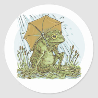 Frog with Umbrella by Mudge Studios Classic Round Sticker