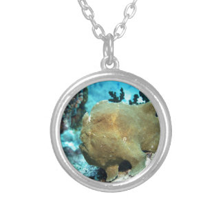 Frogfish camouflaged silver plated necklace