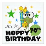 "Froggie Hoppy 70th Birthday 5.25"" Square Invitation Card"