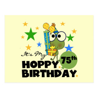 Froggie Hoppy 75th Birthday Postcard