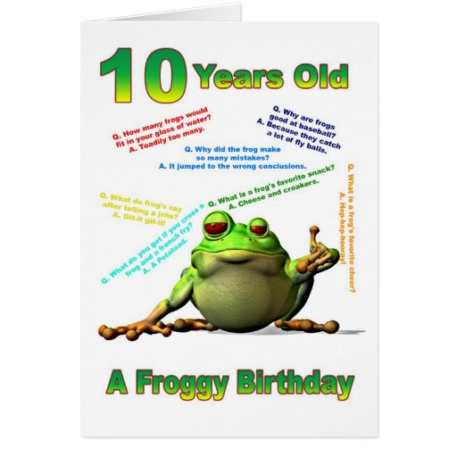 Froggy friend 10th birthday card with froggy jokes
