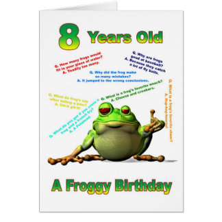 Froggy friend 8th birthday card with froggy jokes