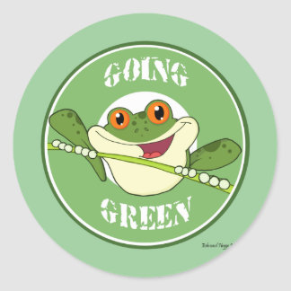 Froggy Going Green Classic Round Sticker