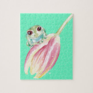 Froggy green jigsaw puzzle
