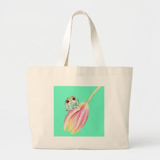 Froggy green large tote bag