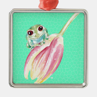 Froggy green metal ornament