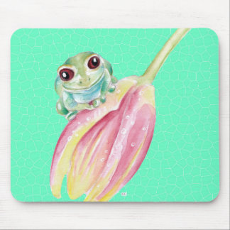 Froggy green mouse pad