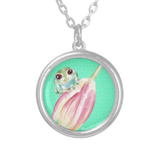 Froggy green silver plated necklace