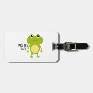 Froggy Luggage Tag w/ leather strap