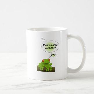 Froggy tastes like chicken. coffee mugs