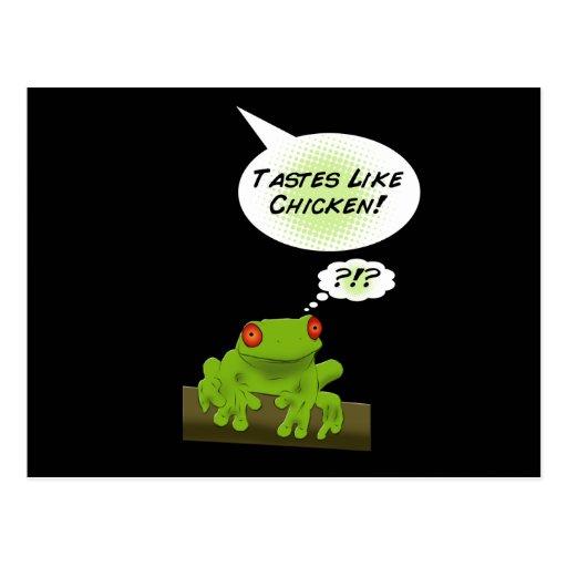 Froggy tastes like chicken. post card
