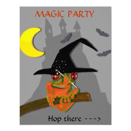 Froggy witch casts a spell invite