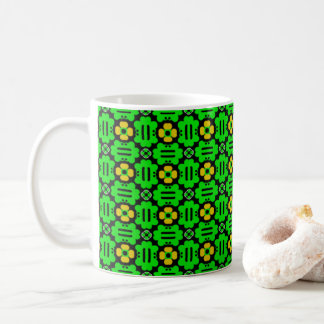 Frogs and Buttercups Green and Yellow Pattern Coffee Mug