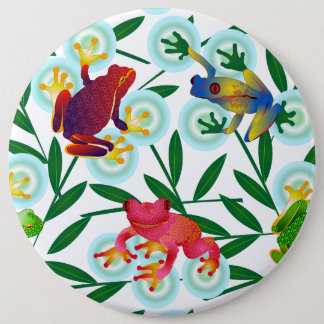 Frogs Bamboo Bubbles Rainforest Jungle Whimsical 6 Inch Round Button