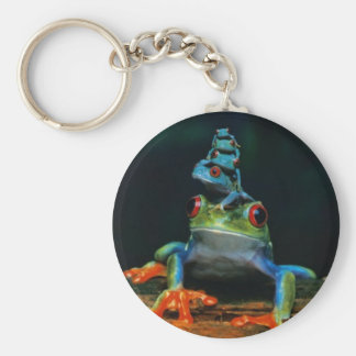 frogs basic round button keychain