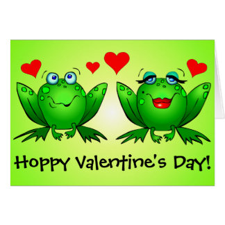 Frogs Cute Funny Hoppy Valentines Day Card