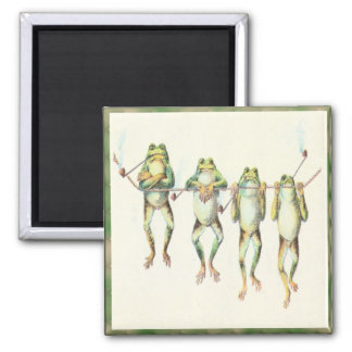 Frogs in a Line Magnet