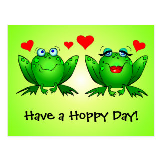 Frogs in Love Have a Hoppy Day Green Postcard