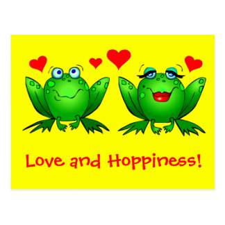 Frogs Love and Hoppiness Yellow Postcard
