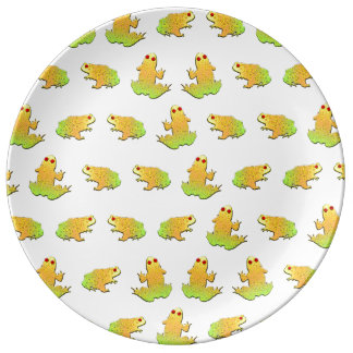 Frogs pattern porcelain plates