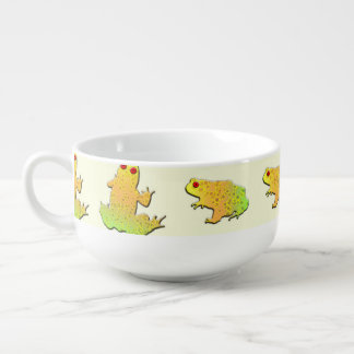 Frogs pattern soup bowl with handle