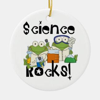 Frogs Science Rocks Round Ceramic Ornament