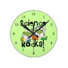 Frogs Science Rocks Round Clock