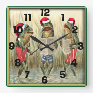 Frogs Singing Merry Christmas Square Wall Clock