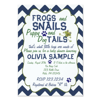 Frogs, Snails and Puppy  Baby Shower Invitation