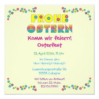 """Frohe Ostern 5.25"""" Square Invitation Card"""