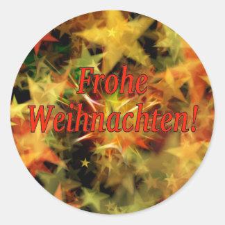 Frohe Weihnachten! Merry Christmas in German rf Classic Round Sticker