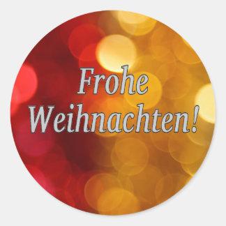 Frohe Weihnachten! Merry Christmas in German wf Classic Round Sticker