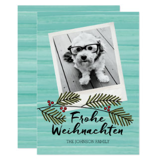Frohe Weihnachten Mod Watercolor Holiday 1 Photo Card