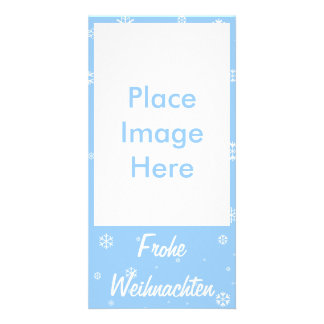 Frohe Weihnachten Snowflakes Photo Cards