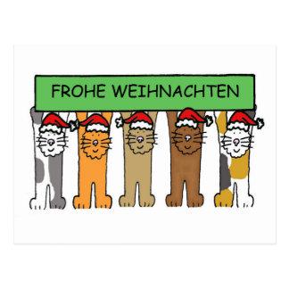 Frohe Weinhachten, Christmas Cats Postcard