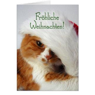 Fröhliche Weihnachten - Cat in Santa Hat Card