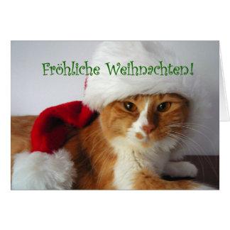 Fröhliche Weihnachten - Cat Wearing Santa Hat Card