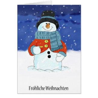 Frohliche Weihnachten - German Snowman Christmas C Card