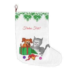 Fröhliche Weihnachten, Hund und Katze auf Deutsch Large Christmas Stocking