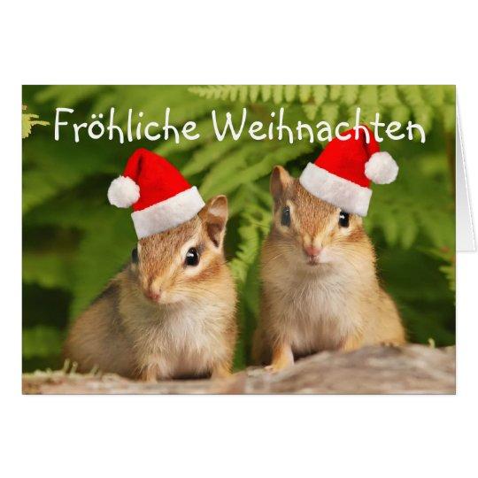 Fröhliche Weihnachten Santa Baby Chipmunks Card