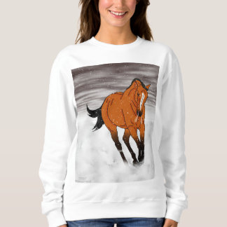 Frolicking Buckskin Horse in Snow Sweatshirt