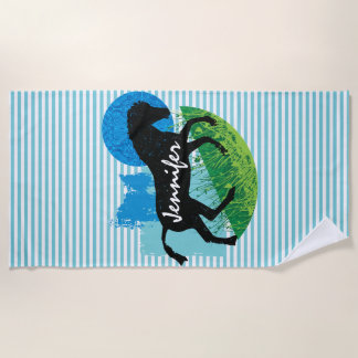 Frolicking Horse Stripes Design Beach Towel
