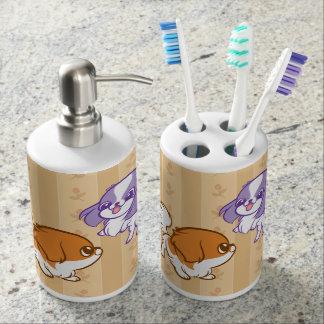 Frolicking Kawaii Puppies Japanese Chin Bathroom Set