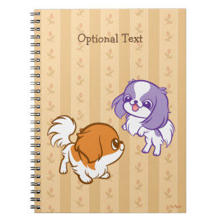 Frolicking Kawaii Puppies Japanese Chin Notebooks