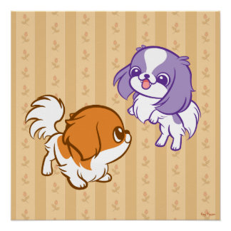 Frolicking Kawaii Puppies Japanese Chin Perfect Poster