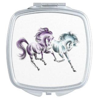 Frolicking Racing Wild Horses Makeup Mirrors