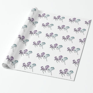Frolicking Racing Wild Horses Wrapping Paper