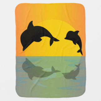Frollocking Dolphins at Sunset Baby Blanket