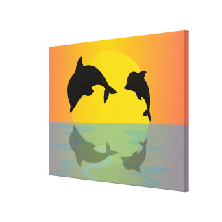 Frollocking Dolphins at Sunset Canvas Print