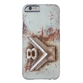 From classic car: Rusty old v8 emblem in chrome Barely There iPhone 6 Case